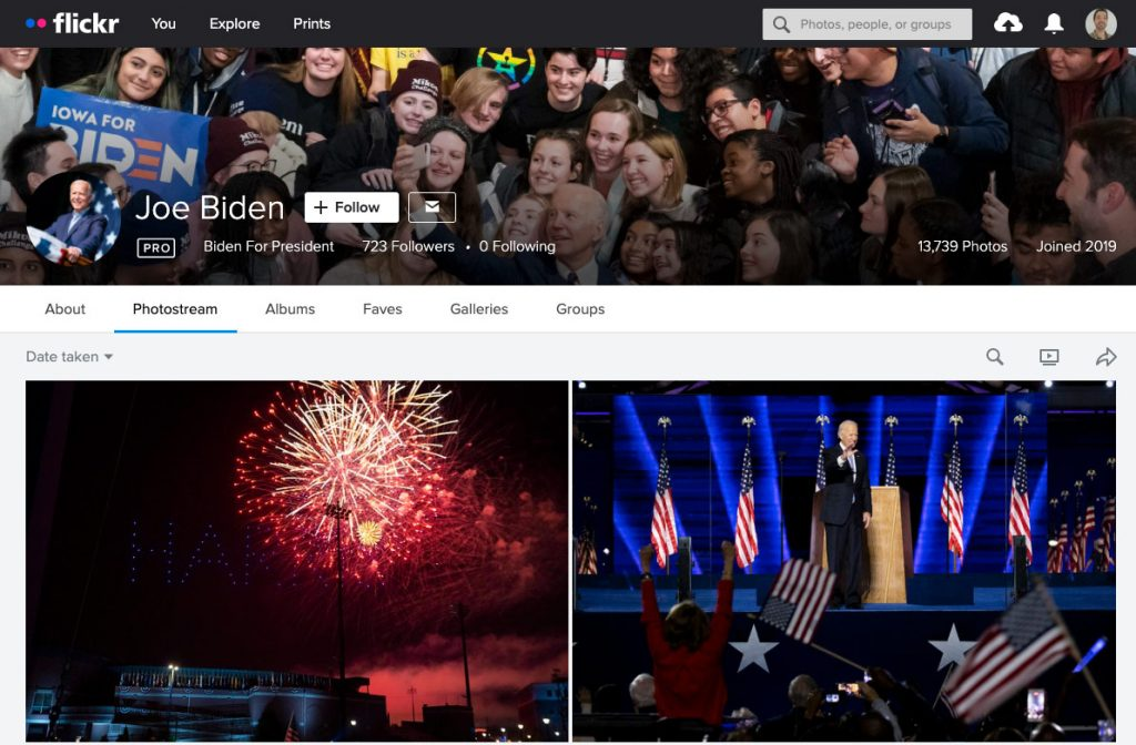 Screenshot of @bidenforpresident's Flickr account