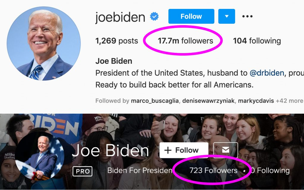 Screenshot of @joebiden's Instagram account