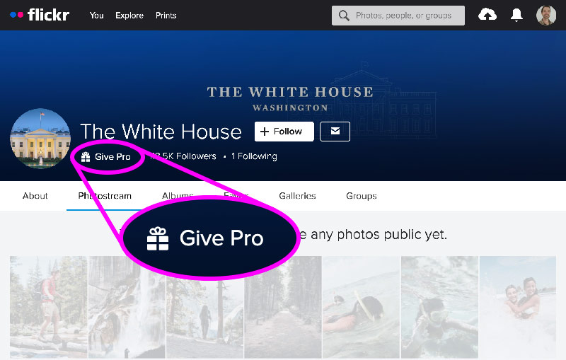 Screenshot of the WhiteHouse Flickr account on January 27, 2021 saying it's not a Pro account