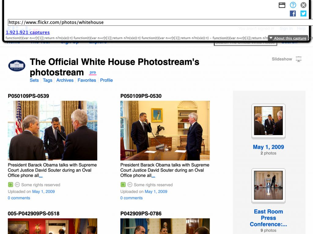 Screenshot of the WhiteHouse Flickr account on May 1, 2009