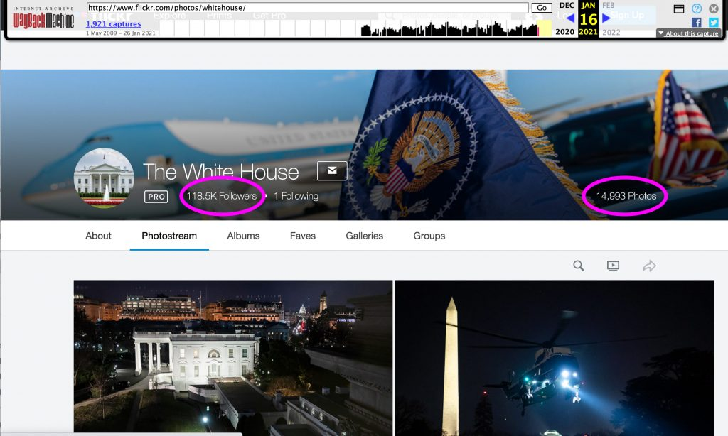 Screenshot of White House Flickr on January 16, 2021