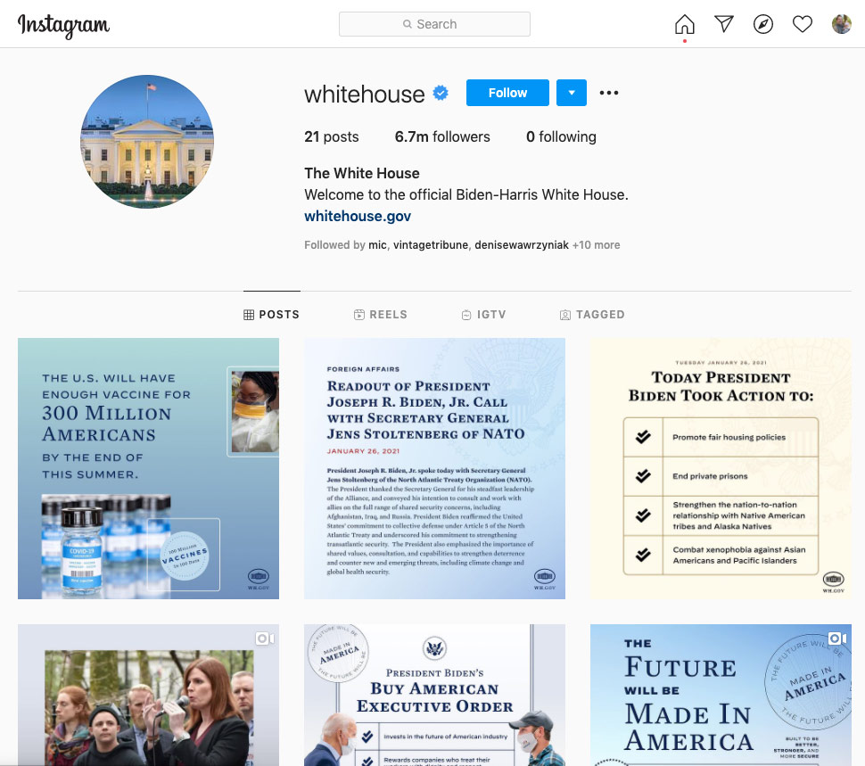 Screenshot of @WhiteHouse Instagram on January 27, 2021