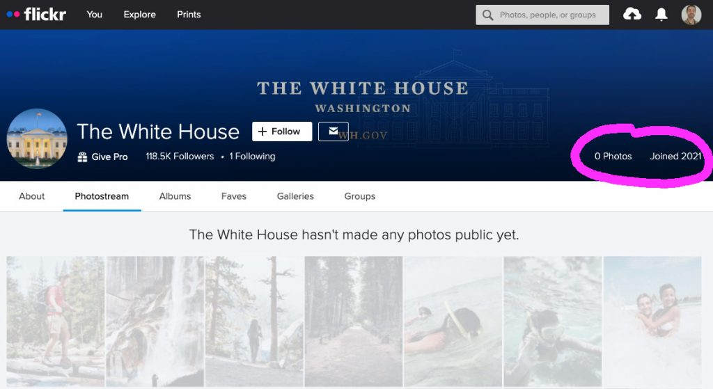 Screenshot of the WhiteHouse account on Flickr