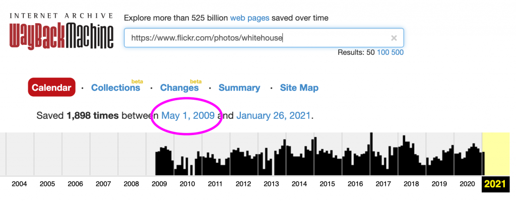 Screenshot of archive.org's index of the WhiteHouse account on Flickr